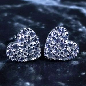 925 Silver Heart Shape Stud Earrings